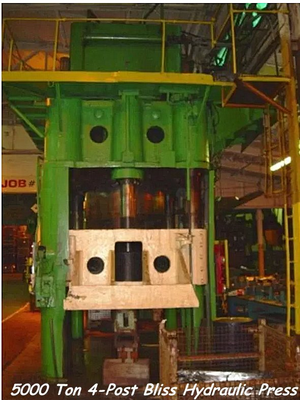 5000 Ton Lake Erie Triple Action Hydraulic Press mfgr date