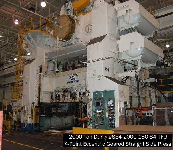 Used 2000 ton DANLY straight side eccentric geared hydraulic stamping press for sale