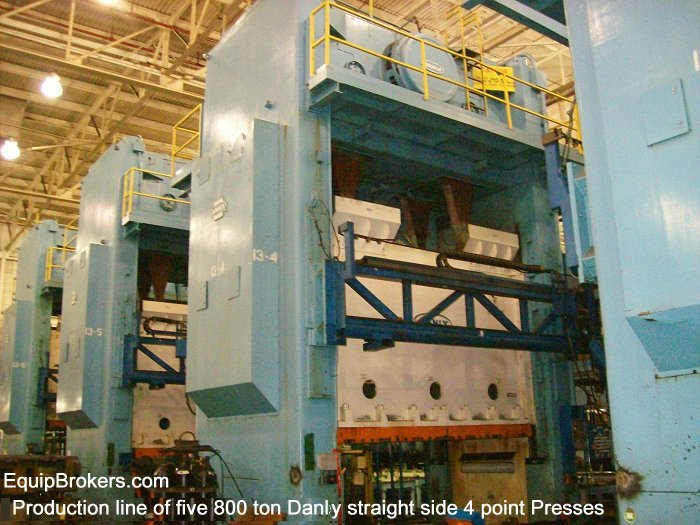 800 ton Danly straightside 4 point stamping presses for sale