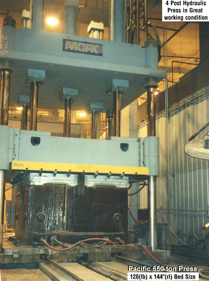 650 ton Pacific 4 Post Hydraulic press for sale from